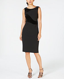 Calvin Klein Petite Velvet-Swirl Sheath Dress