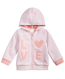 First Impressions Baby Girl Full-Zip Hooded Sweatshirt, Created for Macy's