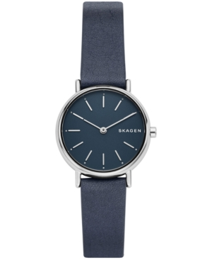 Skagen WOMEN'S SIGNATUR SLIM BLUE LEATHER STRAP WATCH 30MM