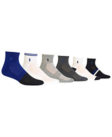 Polo Ralph Lauren Men's 6-Pk. Athletic Textured Quarter Socks