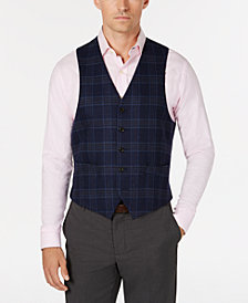Lauren Ralph Lauren Men's Classic/Regular Fit Navy/Brown Plaid Wool Vest