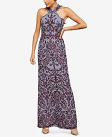 BCBGMAXAZRIA Embroidered Chiffon Halter Gown