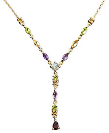Victoria Townsend 18k Gold over Sterling Silver Necklace, Multistone and Diamond Accent Pear Drop Necklace