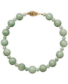 14k Gold Bracelet, Jade Bead Strand