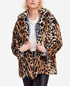 Free People Kate Leopard-Print Faux-Fur Coat