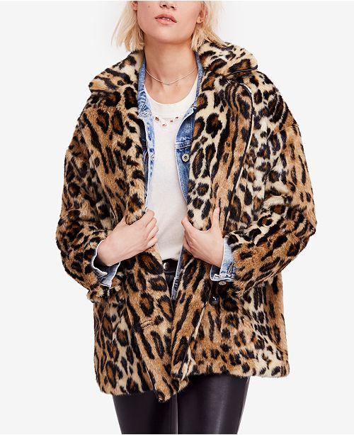 Free People Kate Leopard-Print Faux-Fur Coat