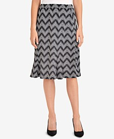 Printed Godet-Pleat Skirt