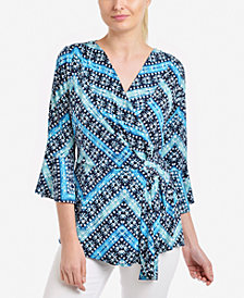 NY Collection Printed Faux-Wrap Bell-Sleeve Top