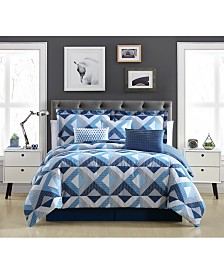 Blue Geo 7-Pc. King Comforter Set