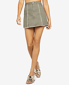 BCBGeneration Frayed Denim Mini Skirt