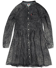 Levi's® Big Girls Long-Sleeve Denim Mandarin Dress