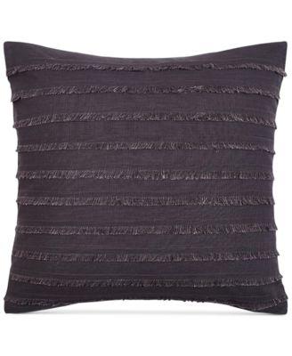 "Heathered Velvet Fringe 16"" Square Decorative Pillow"