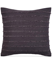 "Keeco Heathered Velvet Fringe 16"" Square Decorative Pillow"