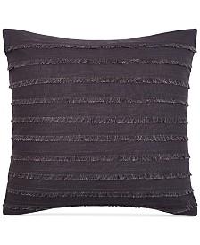 "Keeco Heathered Velvet Fringe 16"" Square Decorative Pillow"