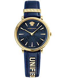Versace Women's Swiss V-Circle Manifesto Edition Blue Leather Strap Watch 38mm