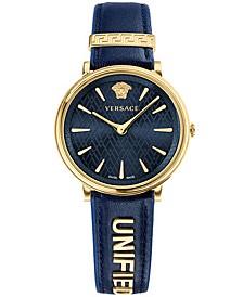 Versace Women's Swiss V-Circle Manifesto Edition Blue Leather Strap Watch 38mm