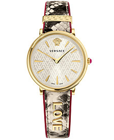 Versace Women's Swiss V-Circle Manifesto Edition Beige Elaphe Print Leather Strap Watch 38mm