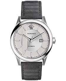 Versace Men's Swiss Automatic Aiakos Gray Leather Strap Watch 44mm