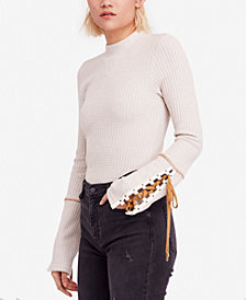 Free People Lace-Up-Sleeve Sweater