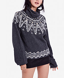 Free People Treasure Fair-Isle Cowl-Neck Sweater