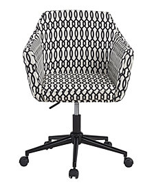 Upholstered Office Chair, Black Trellis