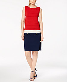 Anne Klein Colorblocked Faux-Pocket Dress