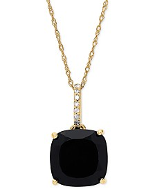 "Onyx (10mm) & Diamond Accent 18"" Pendant Necklace in 14k Gold"