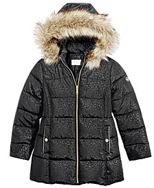 MICHAEL Michael Kors Big Girls Hooded Stadium Jacket with Faux-Fur Trim
