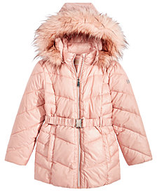 MICHAEL Michael Kors Big Girls Hooded Belted Stadium Jacket with Faux-Fur Trim