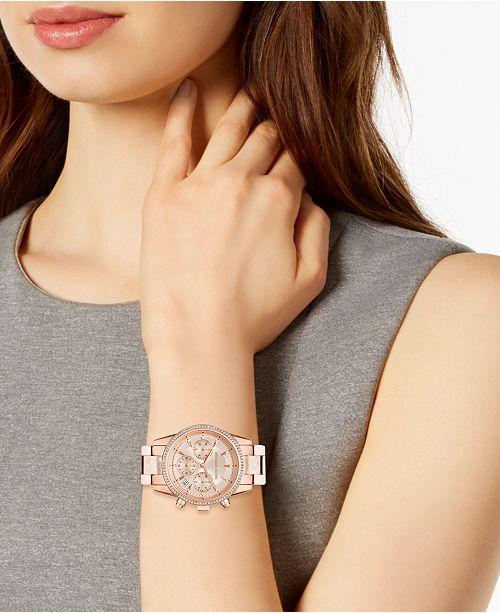 1b6351e7ffbd ... Michael Kors Women s Chronograph Ritz Rose Gold-Tone Stainless Steel  Bracelet Watch ...