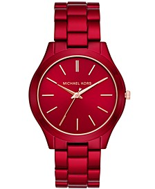 Women's Slim Runway Red-Tone Stainless Steel Bracelet Watch 42mm