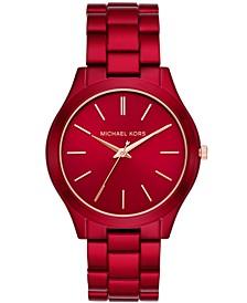 Women's Slim Runway Red-Tone Stainless Steel Bracelet Watch 42mm