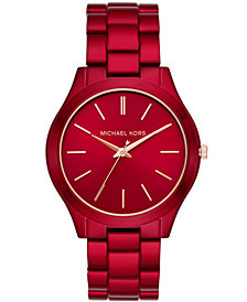 Michael Kors Women's Slim Runway Red-Tone Stainless Steel Bracelet Watch 42mm
