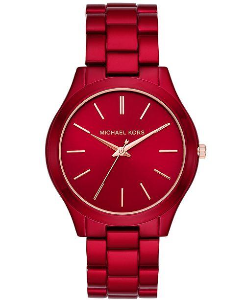 a68f725acb5de ... Michael Kors Women s Slim Runway Red-Tone Stainless Steel Bracelet  Watch ...