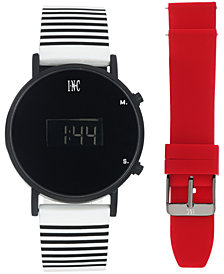 I.N.C. Women's White Striped Silicone Strap Watch 39mm Gift Set, Created for Macy's