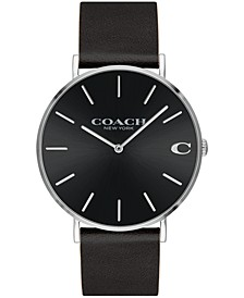 Men's Charles Created for Macy's  Black Leather Strap Watch 41mm