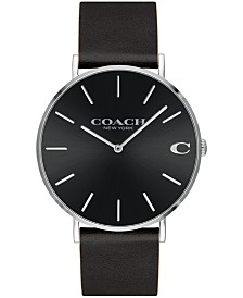 COACH Men's Charles Created for Macy's  Black Leather Strap Watch 41mm