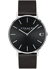 41362a46fd COACH Men s Slim Easton Black Leather Strap Watch 40mm 14602112 ...