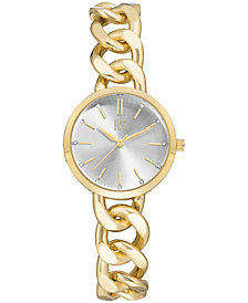 I.N.C. Women's Gold-Tone Chain Bracelet Watch 30mm, Created for Macy's