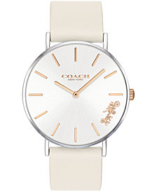 COACH Women's Perry Chalk Leather Strap Watch 36mm