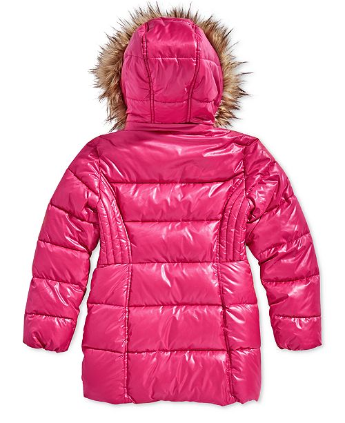 fca55743a8f8 ... Michael Kors Toddler Girls Hooded Puffer Stadium Coat with Faux-Fur Trim  ...