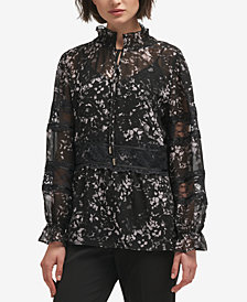 DKNY Lace-Trim Printed Blouse, Created for Macy's