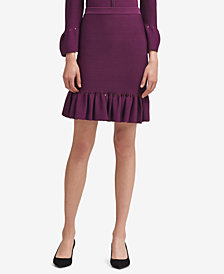 DKNY Ruffle-Hem Pencil Skirt, Created for Macy's