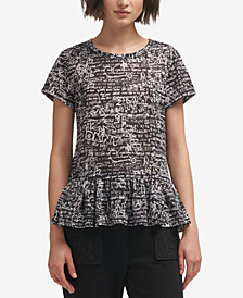 DKNY Printed Peplum T-Shirt, Created for Macy's