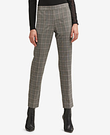 DKNY Plaid Straight-Leg Pants, Created for Macy's