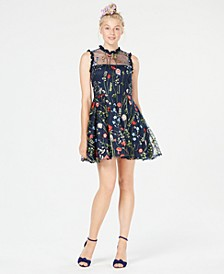 Juniors' Floral-Embroidered Fit & Flare Dress, Created for Macy's