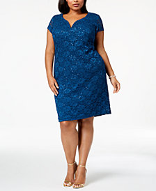 Connected Plus Size Metallic Sheath Dress