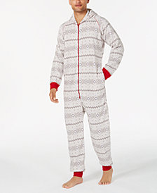 Matching Family Pajamas Men's Winter Fairisle Hooded One-Piece, Created For Macy's