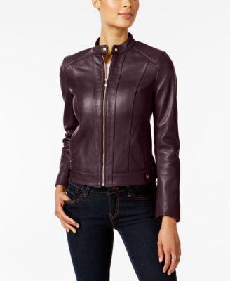 Petite Zip-Cuffs Leather Moto Jacket