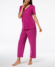 Charter Club Cotton Printed Pajama Set, Created for Macy's